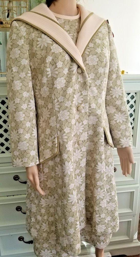 Vintage Lillie Ann Paris San Francisco Dress and Coat lined 1960's Floral Green #LillieAnn #SpecialOccasion