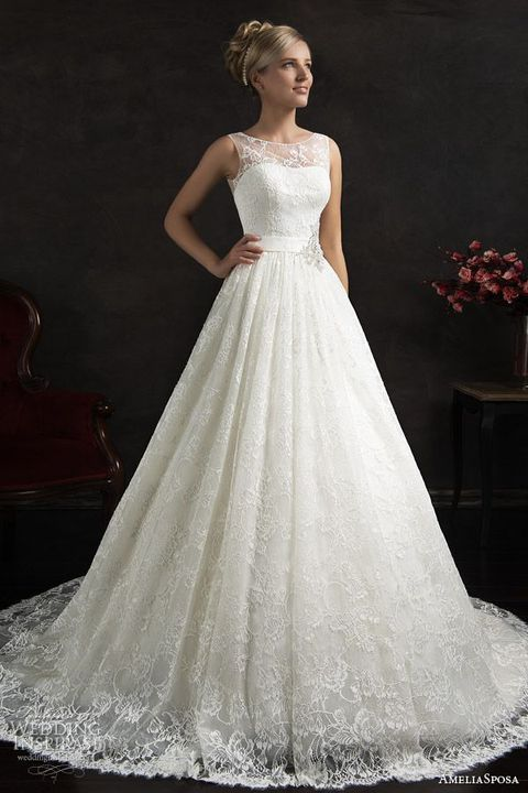 72 Breathtaking Illusion Neckline Wedding Gowns | HappyWedd.com