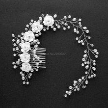 Свадебные цветы с искусственным жемчугом Свадебные Девушка Тиара цветочный головной убор повязка для волос Comb-W128(China (Mainland))