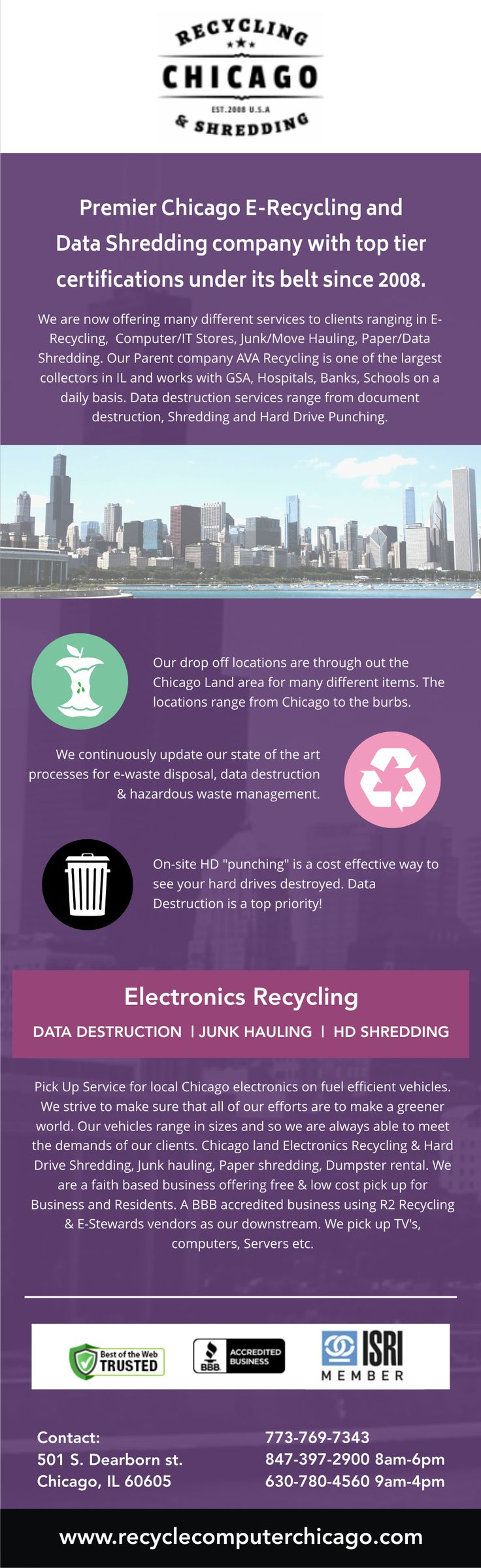 At Chicago Electronics Recycling has been in business since 2008 and is family owned and operated. They are the Premier Chicago Computer Electronics Recycling Company for all types of metals, junk vehicles, and electronics. They offer over twenty drop-off locations that are free for all items except televisions, for which they charge a low cost television recycling fee. They also offer pick up service for businesses and residential.