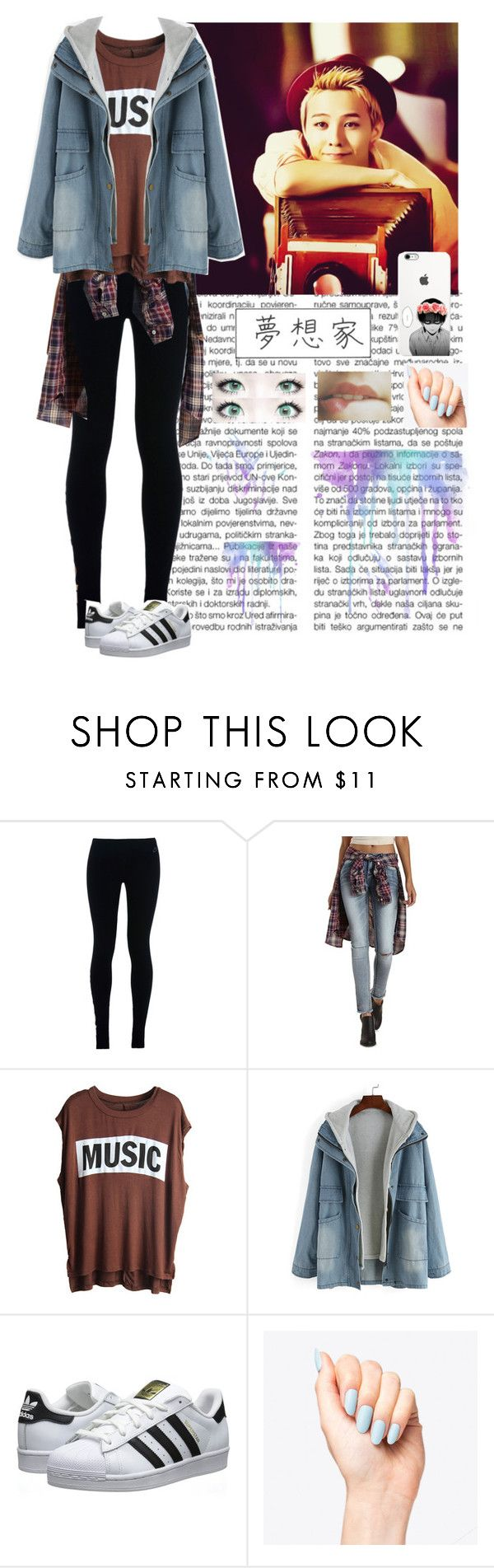 """""""G-Dragon - BIGBANG"""" by typical-ghoul ❤ liked on Polyvore featuring NIKE, Refuge and adidas Originals"""