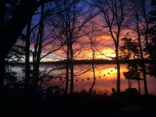A beautiful sunrise over the Mira River in Cape Breton, Nova...