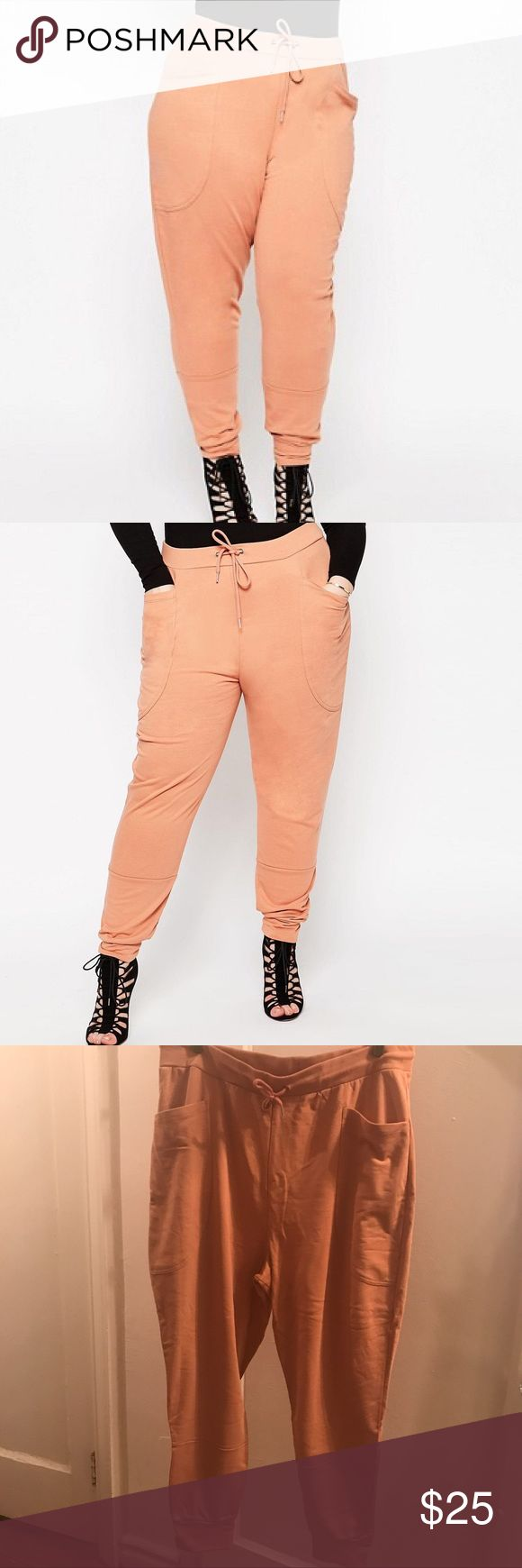 ASOS Curve Casual Harem Sweatpants Cute harem sweatpants can be dressed up or down! These are a peachy mauve (nude) color. 2 front pockets, 1 back pocket, banded hem, drawstring in waistband. 100% Cotton.  📦I ONLY SHIP MONDAY-THURSDAY📫 ASOS Curve Pants