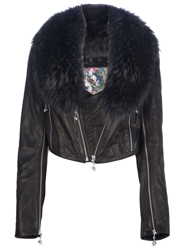 Black lambskin jacket from Philipp Plein #farfetch5