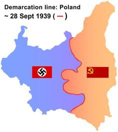 Germany - USSR split of Poland map