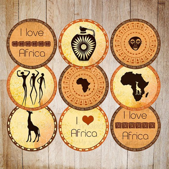 "Printable Safari party decoration Cupcake toppers African travel party DIY circles INSTANT DOWNLOAD orange yellow red brown 2"" round items"