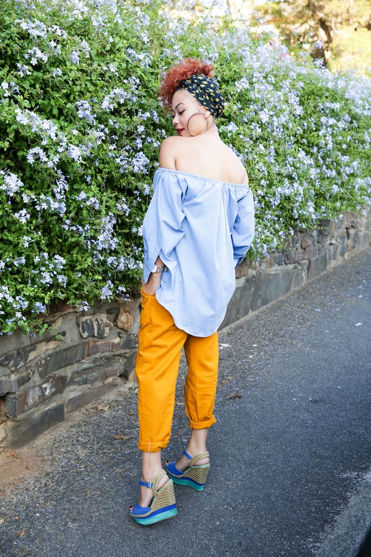 Blue and Mustard Off-Shoulder outfit inspo