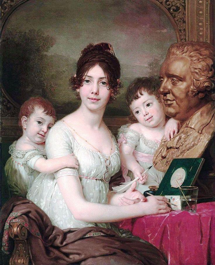 Графиня Любовь Ильинична Кушелёва, ур.Безбородко (1783-1809) с сыновьями Александром (1800-1855) и Григорием (1802-1855)