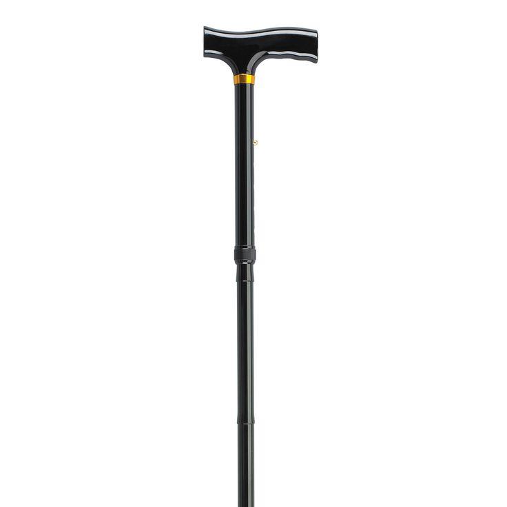 Lightweight Adjustable Folding Cane with T Handle, Black