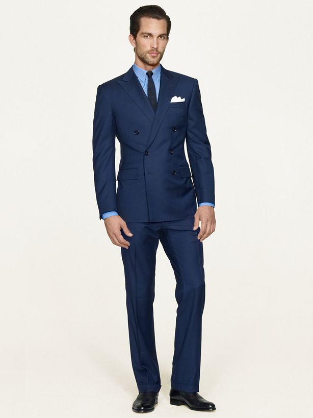 ダブルスーツ着こなしネイビーのDouble-Breasted Suit