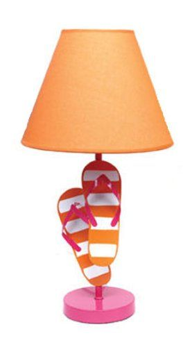 Summer Beach Metal Flip Flop Lamps Fun and Colorful (Pink Base Orange Shade)