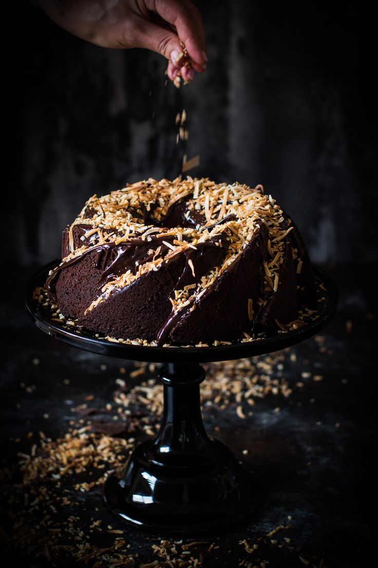 chocolate toasted coconut cake (gf)