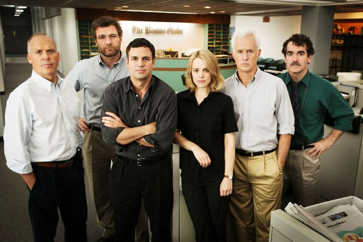 """Spotlight,"" about the Boston Globe's investigation of the Catholic Church's sexual-abuse scandal, stars Michael Keaton, as Walter Robinson; Liev Schreiber, as Martin Baron; Mark Ruffalo, as Michael Rezendes; Rachel McAdams, as Sacha Pfeiffer; John Slattery, as Ben Bradlee, Jr.; and Brian d'Arcy James, as Matt Carroll."