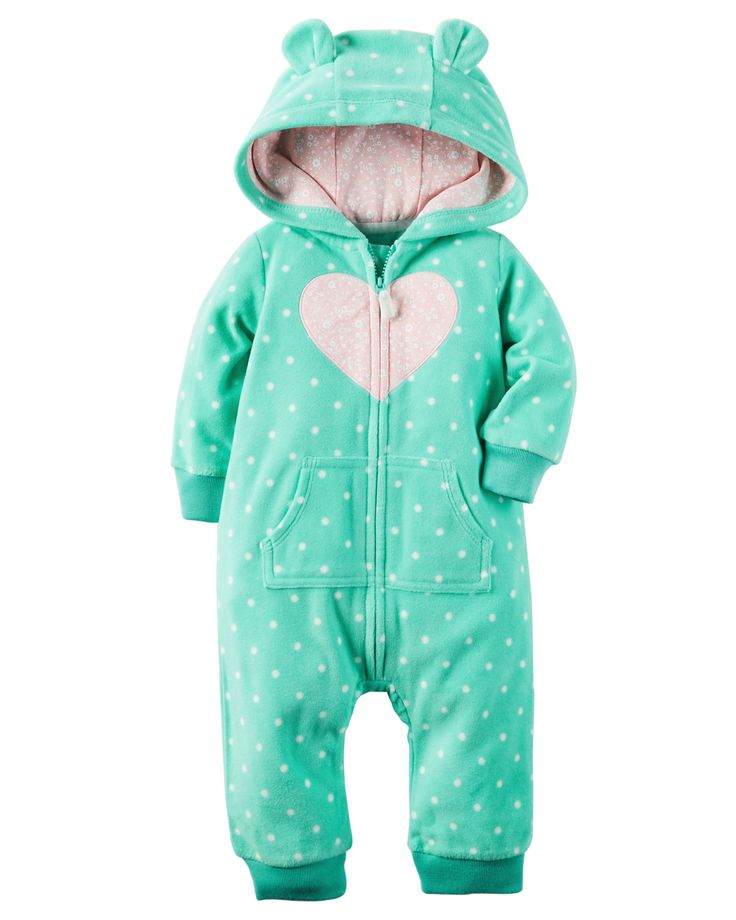 Super soft and cozy, this polka dot zip-up fleece jumpsuit keeps her warm from dusk to dawn. Ribbed cuffs, a kanga pocket and a hood with 3D…