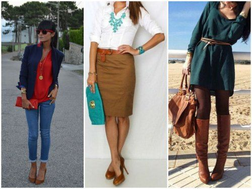 обувь КОРИЧНЕВОГО цвета - сочетание с одеждой