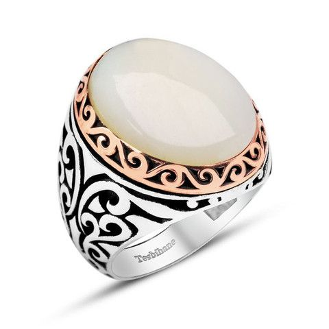 Men's Silver Ring with Pearl – Modefa USA