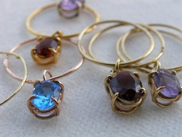 Silver rings,gold plated with semi precious stones. B-Tal jewellery !!!!