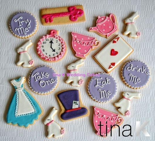 Alice in Wonderland cookies in delicious shortbread.