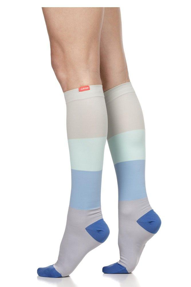 87d51b78d6 Vim & Vigr 15-20 mmHg Women's Stylish Compression Socks - Nylon in Sea  Glass & Grey Color Block
