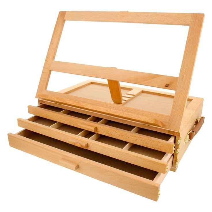 Grand Solana in. 3-Drawer Adjustable Wooden Desktop Easel