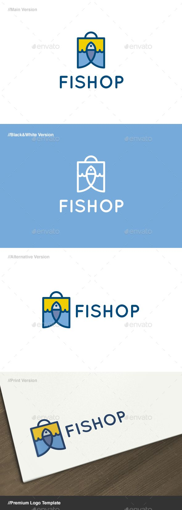 Fishop - Fish & Bag Logo Template Vector EPS, AI Illustrator. Download here: https://graphicriver.net/item/fishop-fish-bag-logo/17606773?ref=ksioks