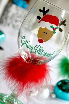 Holiday Wine Glass  Christmas Wine Glass  by MonogramRevolution