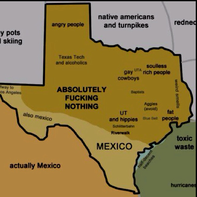 Texas map not all of us are gay cowboys Well most of us