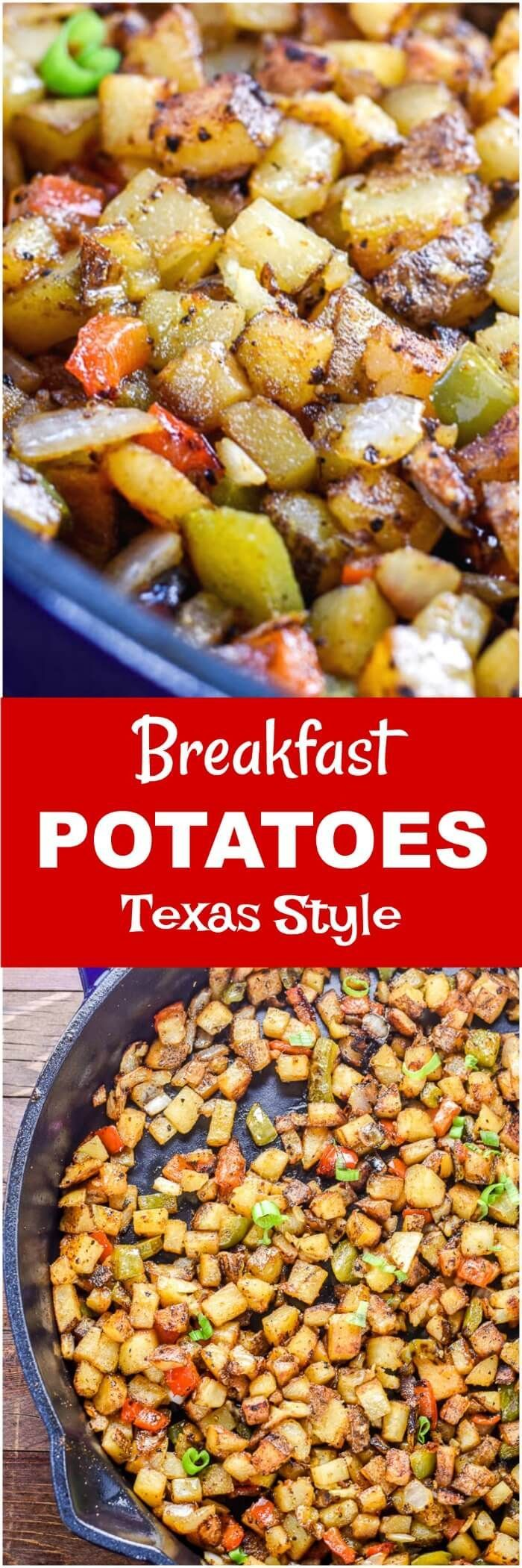 TheseBreakfast Potatoesare bites of roasted potatoes spiced up Texas style with taco seasoning, chopped onions, red bell peppers, and jalapenos, and will kick-startyour breakfast or brunch.