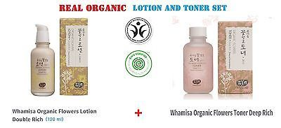 (2pcs) Whamisa Organic Flowers Lotion Double Rich Toner Deep Rich 120ml each