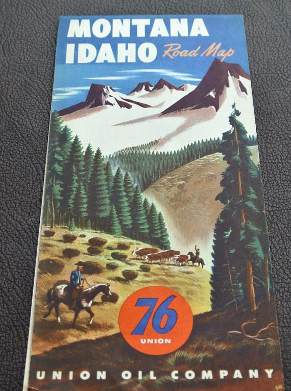 1950s Montana/Idaho Road Map, Vintage Road Map, Gas Station