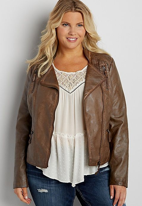 plus size faux leather moto jacket with asymmetrical zipper in tobacco | maurices
