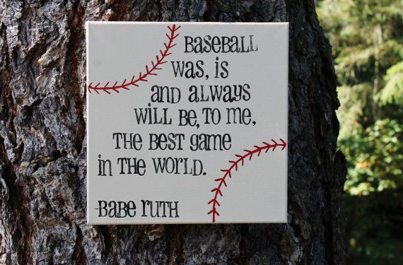 12x12 Canvas.  Hand painted and hand stamped, ready to hang.  Babe Ruth Baseball quote, art work created  by Houseof3,
