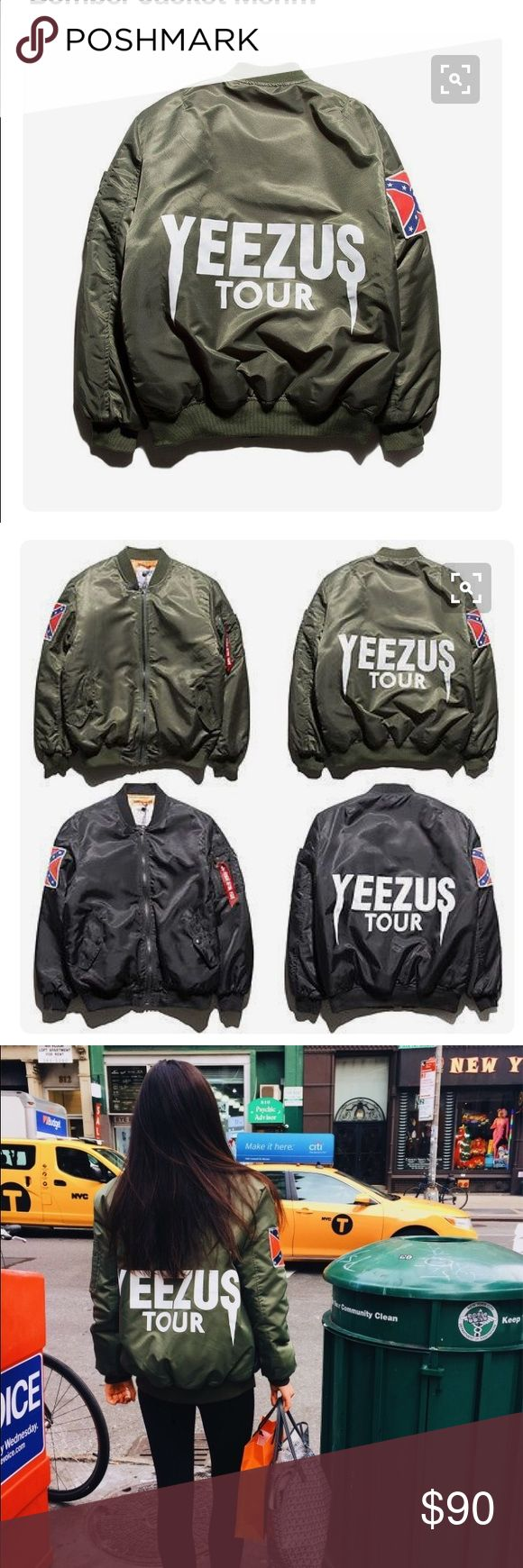 Yeezus Tour bomber Kanye west yeezus tour bomber. Super cute and oversized for the trend. I originally bought a size Large so that it would be oversized and Iegit love the fit. I'm 5'3 and it fit great and my friend is 5'9 and it looked amazing on her too Jackets & Coats