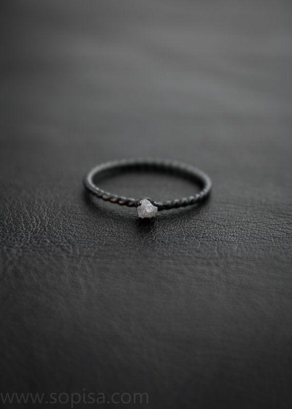 Handmade oxidized sterling silver ring with raw by SopisaJewelry