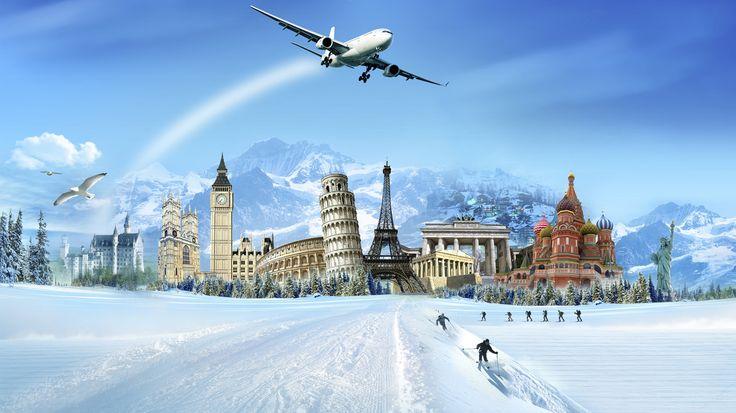 горы, здания, лыжники, пиза, Зима.снег, сабор, самолёт
