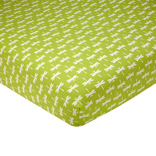 """Sadie & Scout - Dragonfly Crib Sheet. This contemporary crib sheet by Sadie & Scout features a bold green and white dragonfly print. Mix & match with your choice of coordinating crib bedding and room d cor to create a nursery that's just your style! Colors are White and Green.100% Cotton. Fits a standard size crib mattress 28"""" x 52"""". Machine wash separately in cold water, gentle cycle. Use only non-chlorine bleach when needed. Tumble dry on low heat. Iron on low heat when needed. Do not dry…"""