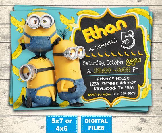 Minions invitation, minion birthday invitations, minions party invite, minions birthday, minions printable, minions digital, banana minions.