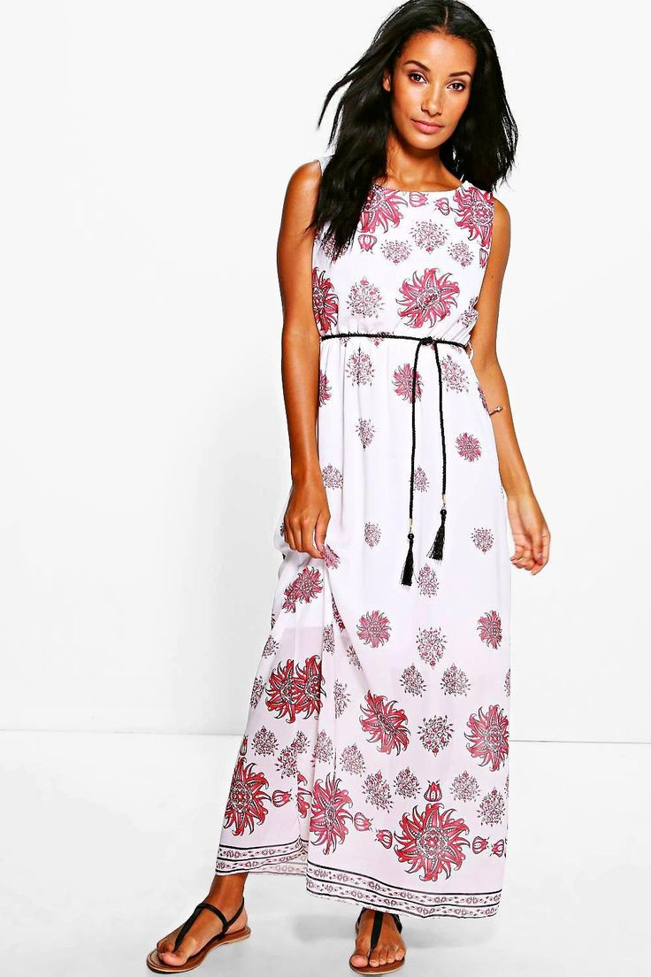 Rebecca Belted Floral Print Maxi Dress