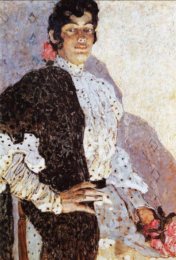 Alexander Golovin (Russian painter, 1863-1930) Spanish Woman with Black Shawl
