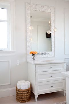 White Brick Mother of Pearl accent tile behind sink in shic bathroom: Found at https://www.subwaytileoutlet.com/