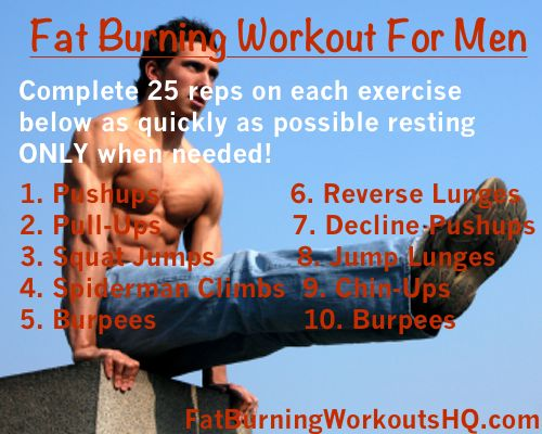At Home Fat-Burning Workouts for Men Use these calorie burning exercises to melt the fat away. check us out at http://sittingwishingeating.com
