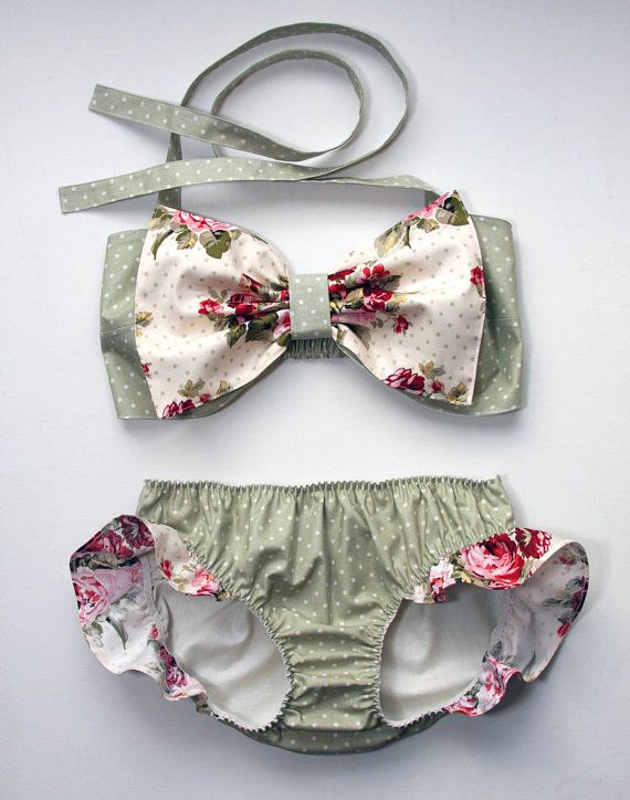 polka dot and floral bow bandeau set. made to order by amourouse. my summer suit.