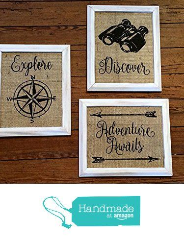 "Burlap ""Adventure Awaits"" Series - Set of Three - Discover - Explore - Travel Home, Family, Nursery Decor - Baby Shower - Travel Themed Nursery from The Thrifty Gifter http://www.amazon.com/dp/B01BO26ZT2/ref=hnd_sw_r_pi_dp_uqoVwb1SJCQT0 #handmadeatamazon"