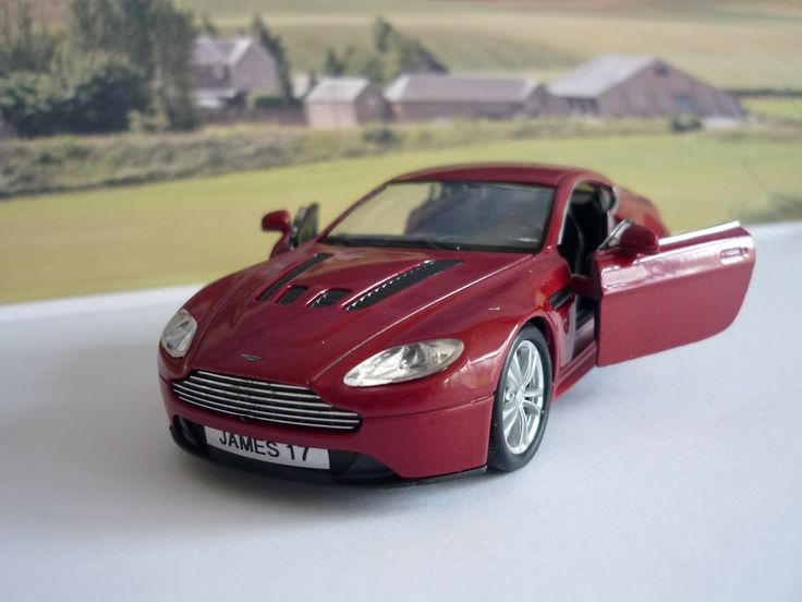 Personalised Plate Burgundy Aston Martin Toy Car