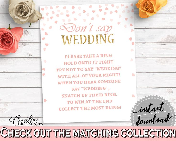 Don't Say Wedding Game Bridal Shower Don't Say Wedding Game Pink And Gold Bridal Shower Don't Say Wedding Game Bridal Shower Pink And XZCNH #bridalshower #bride-to-be #bridetobe