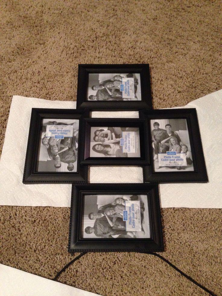 Diy Collage Frame Get Dollar Store Frames And Hot Glue