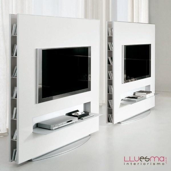 Mueble tv frame collection a suelo con base de aluminio, contenedores laterales e iluminacion fluorescente.