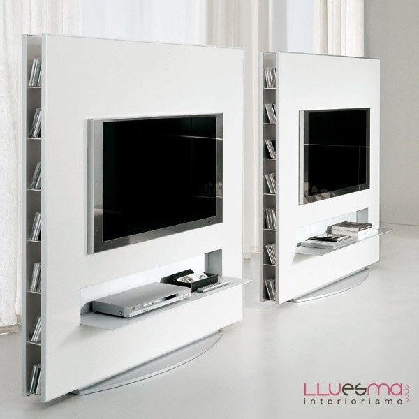 Mueble tv frame collection a suelo con base de aluminio, contenedores laterales e iluminacion fluorescente.