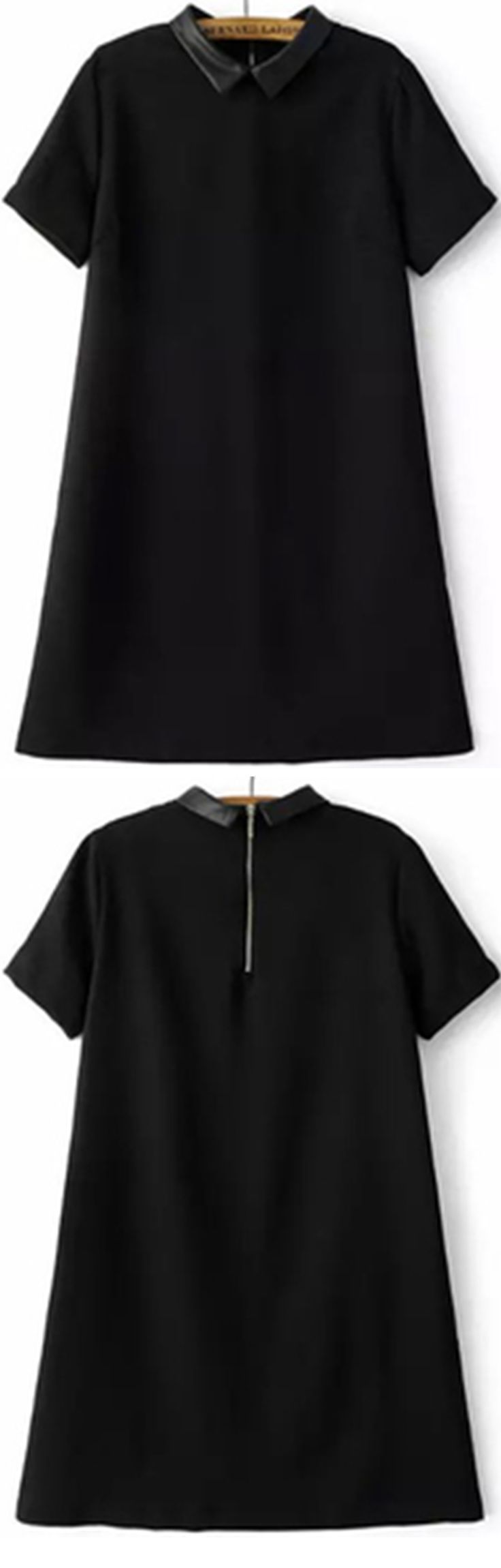 My new shirt dress for work day of new year .  Click to shop with 55% off ! Black doll collar and a line dress will never wrong . So adroable, isn't it ? - womens long black dress, gorgeous dresses, black white and red dress *ad