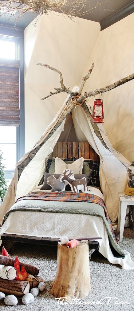 Kid's Camping Bedroom | Faux Fireplace | Designed by Thistlewood Farms